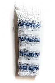 Écharpe Rebozo en coton bio - Blanc/Bleu